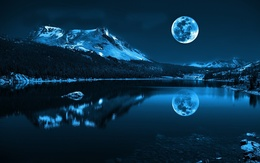 Moon wallpaper, moonlit night, the lake surrounded by mountains and forest water