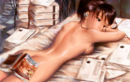 wallpaper naked girl lies back closing the book Operating system concepts and a girl listens to music
